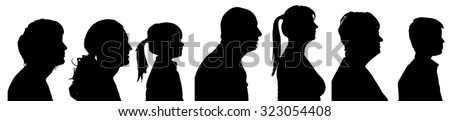 Vector silhouette profile of people on a white background. - stock vector