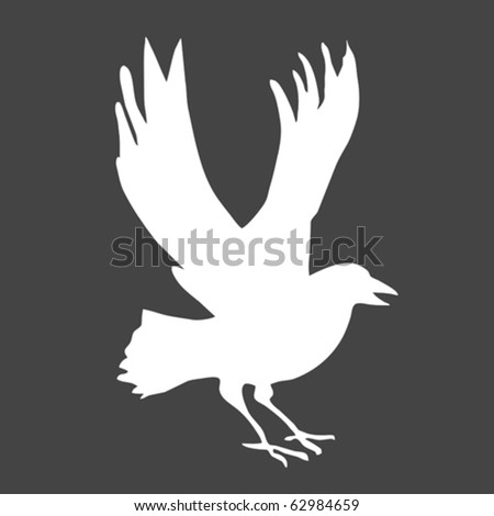 vector silhouette ravens on gray background - stock vector