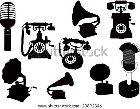 vector silhouette  retro technology - stock vector