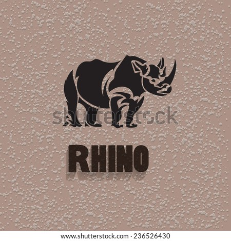 Vector silhouette rhinoceros. Stylized animal with background. - stock vector