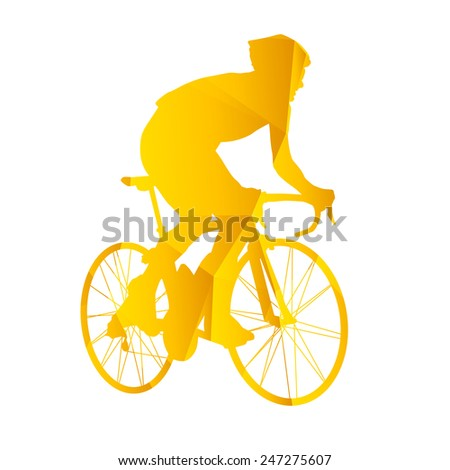 Vector silhouette road cyclists. Geometric silhouette of triangles