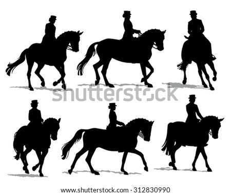 Vector silhouette set of horses with female rider performing dressage movements isolated on white with shadow