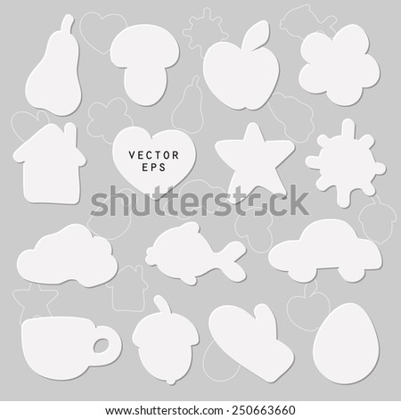 Vector silhouette shape set of apple, pear, car, house, fish, mitten, acorn, cloud, star, sun, heart, mushroom and cup in white paper cut style with shadow and lighting and outlined for text box