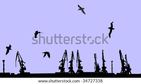 vector silhouette shipyard on yellow background - stock vector