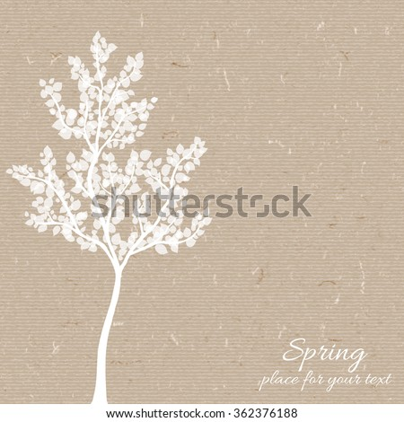 Vector silhouette spring tree  for your design on  the  cardboard. background. Vintage hand drawn illustration with space for text