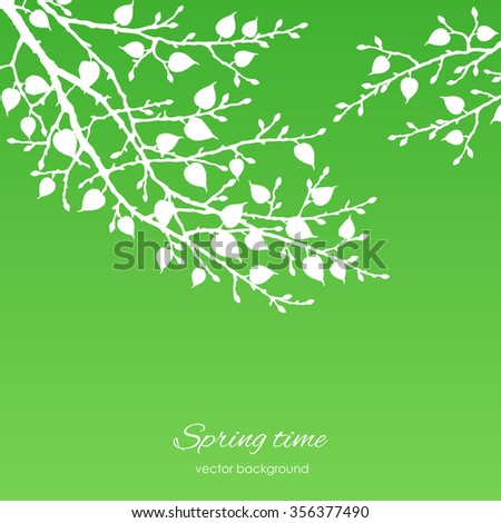 Vector silhouette spring tree  for your design on  the green background. Vintage hand drawn illustration with space for text - stock vector