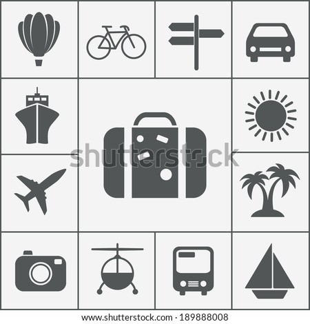 Vector silhouette travel and vacation icon set with a hot air balloon  cruise liner  bicycle  car  plane  bus  helicopter  signpost  luggage  palm trees  camera  sun and yacht - stock vector