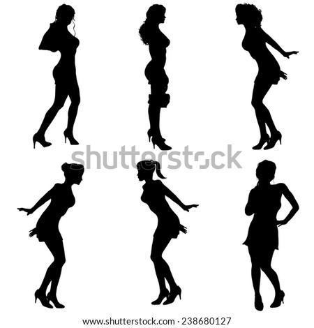 Vector silhouette women dancing on white background.