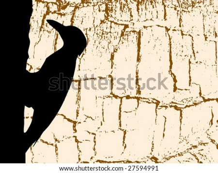 vector silhouette woodpecker on wood background - stock vector