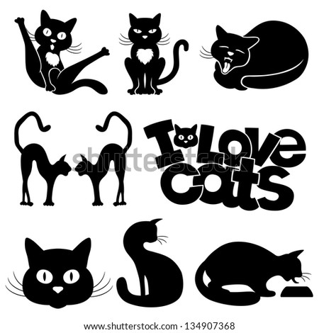 Vector silhouettes. Cats. - stock vector