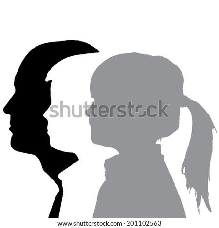 Vector silhouettes family in profile on white background.