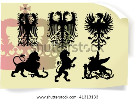 Vector silhouettes, heraldic 1, vector illustration - stock vector