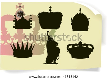 Vector silhouettes, heraldic 3, vector illustration - stock vector