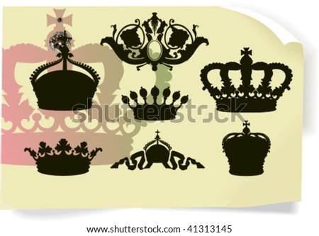 Vector silhouettes, heraldic 4, vector illustration - stock vector