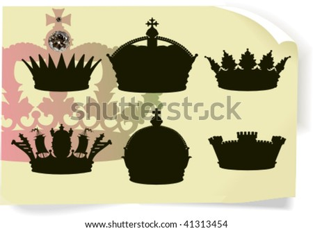 Vector silhouettes, heraldic 6, vector illustration - stock vector