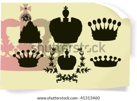 Vector silhouettes, heraldic 8, vector illustration - stock vector