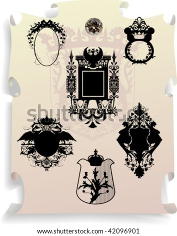 Vector silhouettes, heraldic 11, vector illustration - stock vector