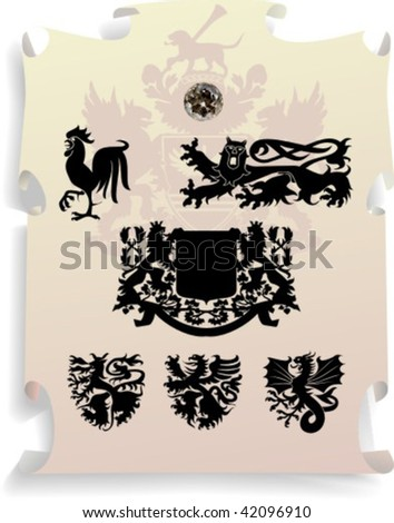 Vector silhouettes, heraldic 13, vector illustration - stock vector