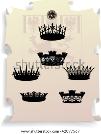 Vector silhouettes, heraldic 19, vector illustration - stock vector