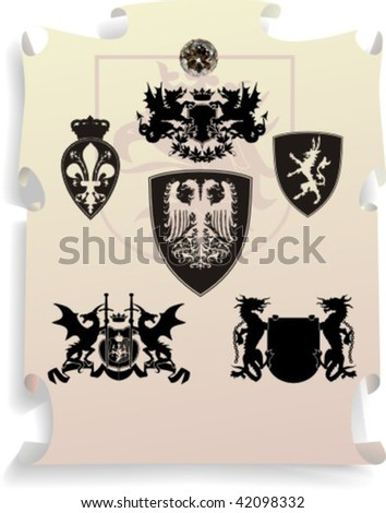 Vector silhouettes, heraldic 15, vector illustration - stock vector