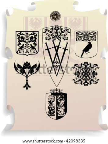 Vector silhouettes, heraldic 18, vector illustration - stock vector