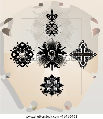 Vector silhouettes, heraldic 21, vector illustration - stock vector