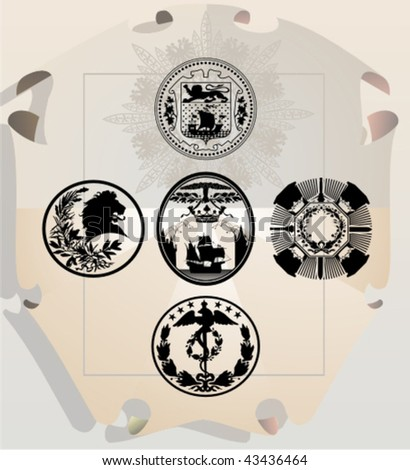 Vector silhouettes, heraldic 24, vector illustration - stock vector