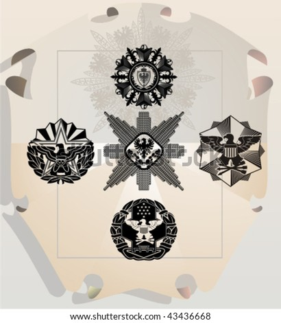 Vector silhouettes, heraldic 26, vector illustration - stock vector