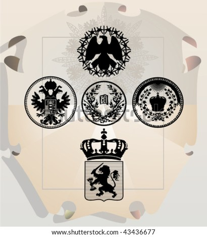 Vector silhouettes, heraldic 28, vector illustration - stock vector