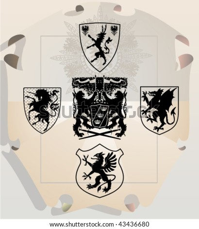 Vector silhouettes, heraldic 29, vector illustration - stock vector