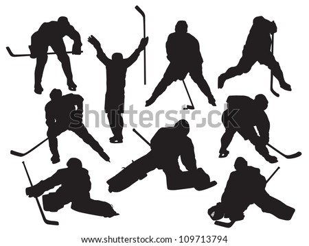 vector silhouettes hockey players - stock vector