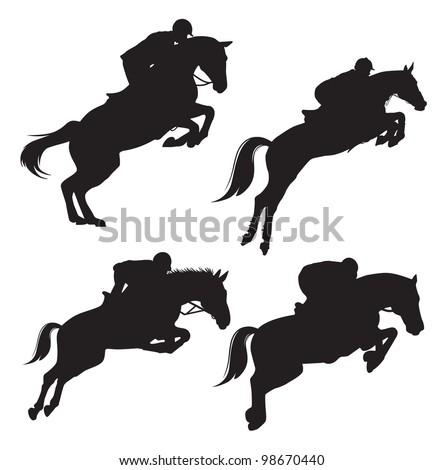 Vector silhouettes jumping on horseback - stock vector