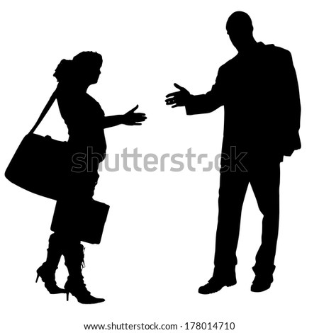 Vector silhouettes man and women on white background - stock vector