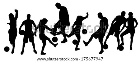 Vector silhouettes man and women playing football.