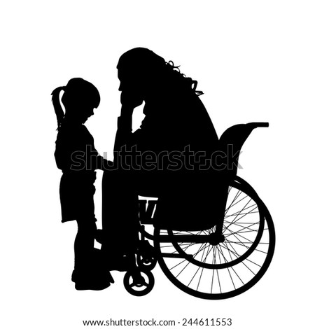 Vector silhouettes man who is in a wheelchair with a daughter.