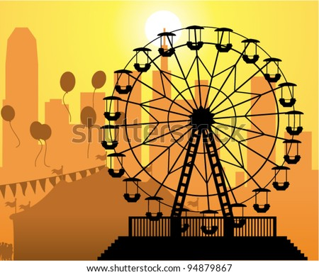 vector silhouettes of a city and amusement park with circus and ferris wheel - stock vector