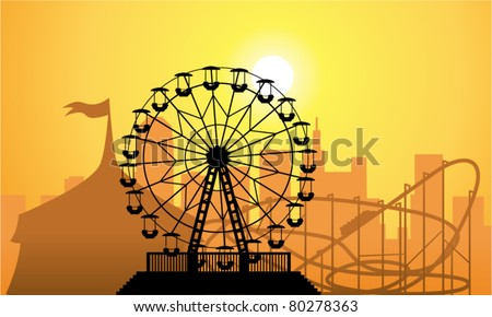 vector silhouettes of a city and amusement park with circus, ferris wheel and roller-coaster - stock vector