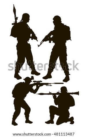 vector silhouettes of a group of armed rebels