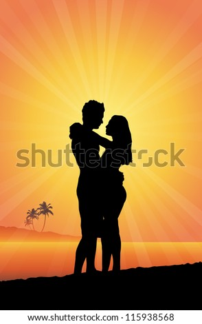 Vector silhouettes of a romantic couple embracing in a warm beach.