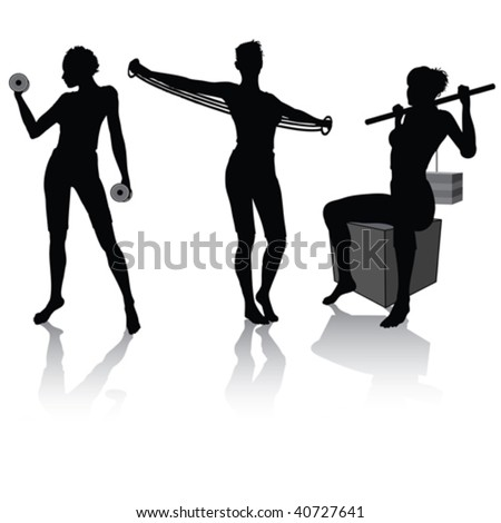 Vector silhouettes of a woman doing fitness - stock vector
