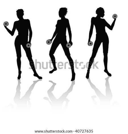 Vector silhouettes of a woman doing fitness with weights - stock vector