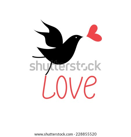 Vector silhouettes of birds in love with heart on a white background - stock vector