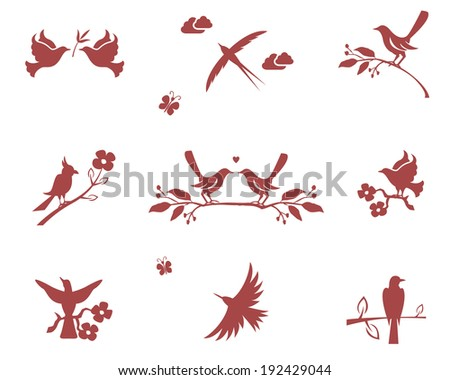 Vector silhouettes of birds on branches. Concept for love, flight and good conduct - stock vector