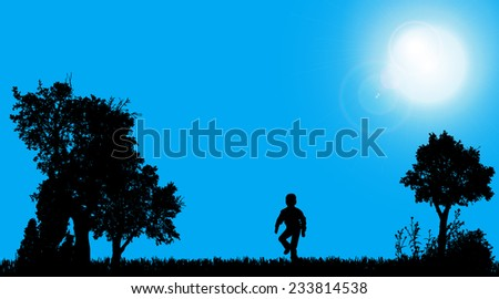 Vector silhouettes of boy who play in the garden. - stock vector