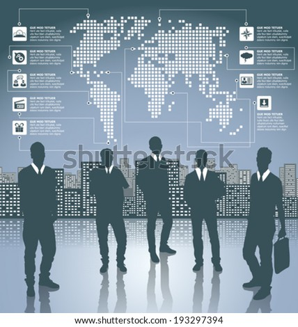 Vector silhouettes of business people in different poses. Infographic with earth map and web icons and elements