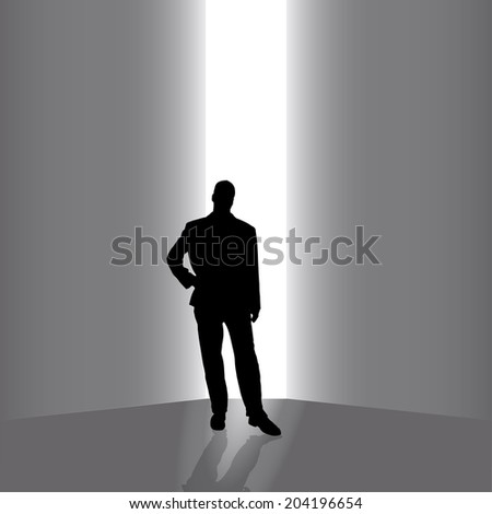 Vector silhouettes of businessman on a gray background.