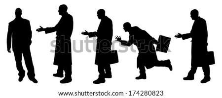 vector Silhouettes of businessman with a coat