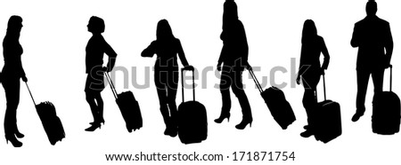 vector Silhouettes of businesspeople on a white background  - stock vector