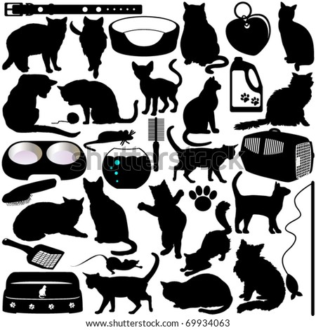 Vector Silhouettes of Cats, Kittens and Accessories in different actions - stock vector
