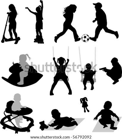 Vector silhouettes of children at play - stock vector